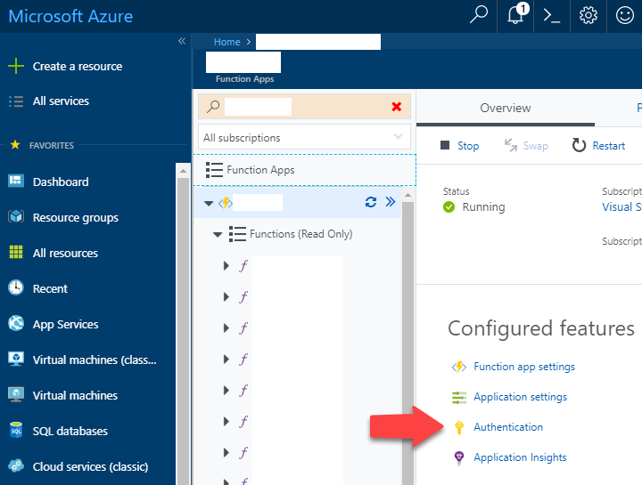 Azure Portal Function App authentication link